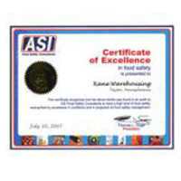 asi certificate of excellence award