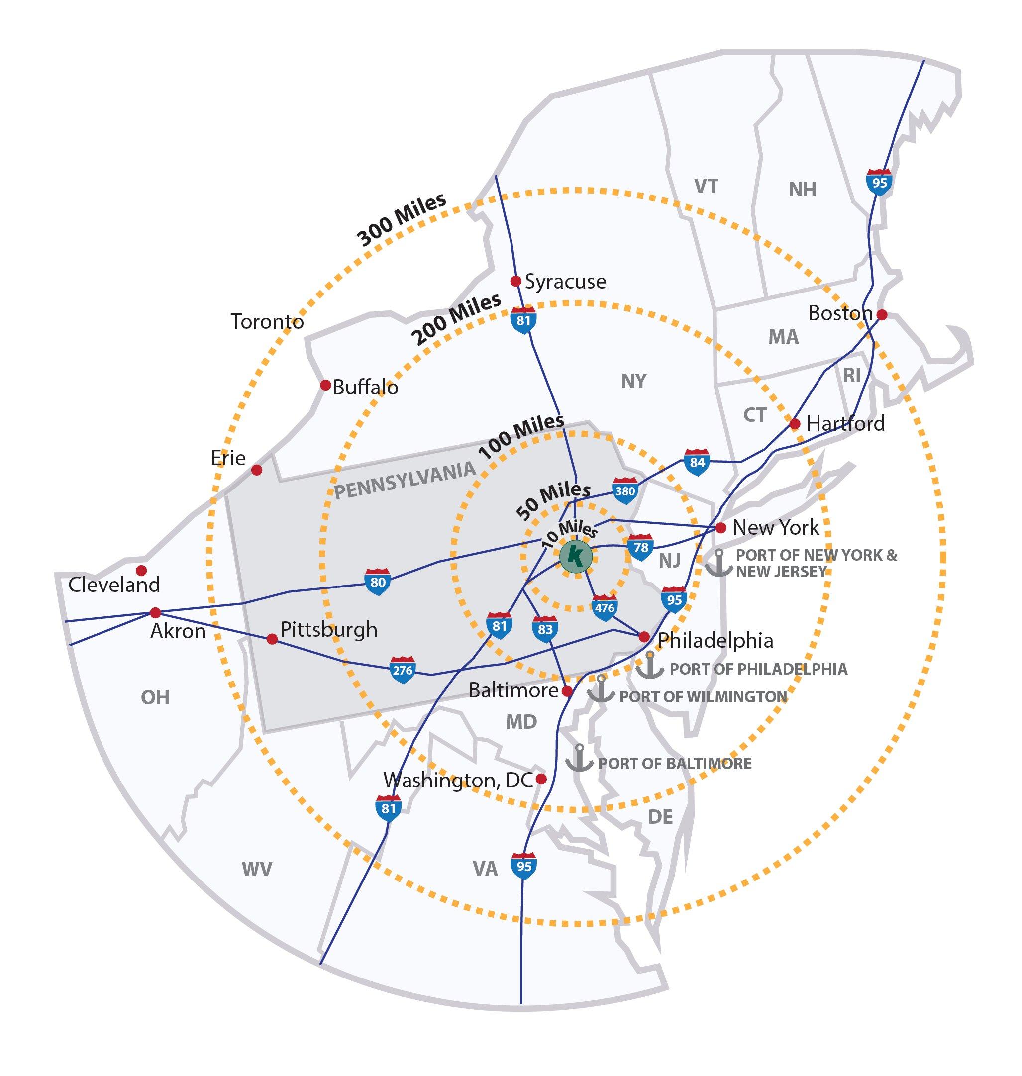 allentown radius map